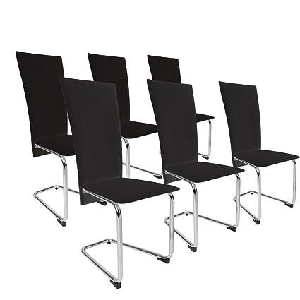 Miadomodo - EZSTL03-3schwarz - Set de 6 sillas de comedor de cuero artificial - Negro - Dos colores a elegir
