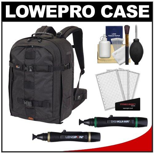 Lowepro Pro Runner 450 AW Digital SLR Camera Backpack Case (Black) + Kit for Canon EOS 70D, 6D, 5D Mark III, Rebel T3, T5i, SL1, Nikon D3100, D3200, D5200, D7100, D600, D800, Sony Alpha A65, A77, A99