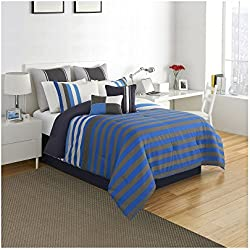 Izod Regatta Stripe Comforter Set, Queen, Blue