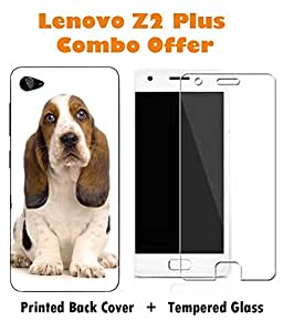 Lenovo Z2 Plus Dog Printed Multicolor Hard Back Cover with Premium Tempered Glass Combo By Make My Print