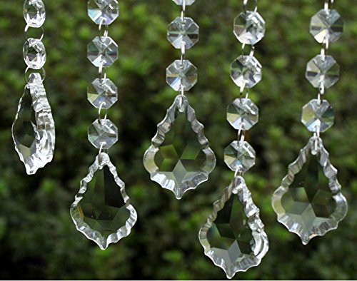 HoHoDeal 30pcs Clear Crystal Maple Leaf Prisms Wedding Garland Chandelier Hanging Pandent Party Decoration (Hanging Acrylic Crystals compare prices)