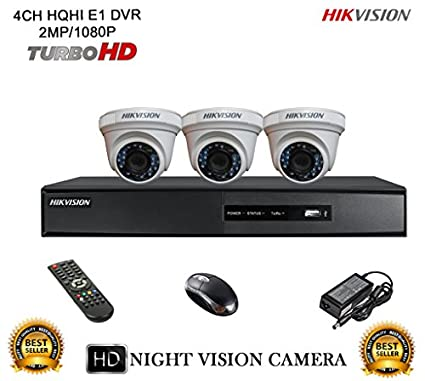 Hikvision-DS-7204HQHI-E1-4CH-Dvr,-3(DS-2CE56DOT-IR)-Dome-Camera-(With-Mouse,-Remote)