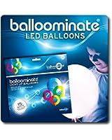 Blanc - Pack de 15. Pack de 15 Ballons lumineux BALLOOMINATE à LED blanche. Idéal pour fêtes et célébrations