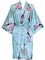 Old Shanghai Women's Kimono Robe - Peacock & Blossoms (Short)