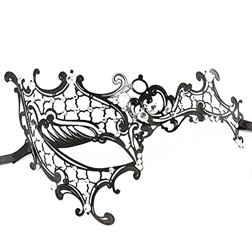 Coxeer® Black Costume Eye Mask Laser Cut Silver with Crystal Decor