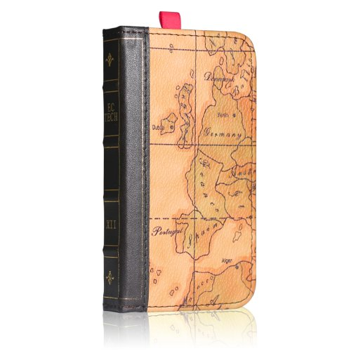 Best Price EC TECHNOLOGY® 5 in 1 Retro Map Pattern Genuine Handmade Leather Case For Iphone 4 Iphone 4S