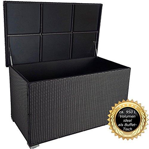 """PREMIUM """"Venezia"""" 950 L XXL Kissenbox (es regnet nicht rein) L 146 cm x B 83 cm x H 80 cm ideal als Buffet Tisch nutzbar mit 2 x Gasdruckstoßdämpfer und eingebauter Tischplatte Farbe: Schwarz"""