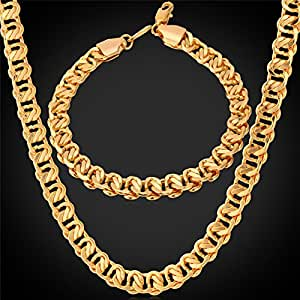 us design cuban link chain real gold 18k stamps plated On jewelry on amazon real