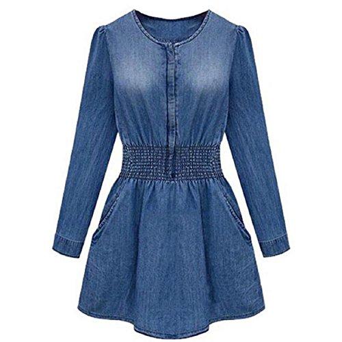 Aokdis Vintage Women Long Sleeved Slim Casual Denim Jeans Party Mini Dress (S)