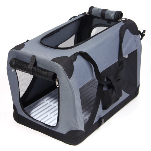 "Masione™ 28"" Gray Portable Pet Dog Cat House Soft Crate Carrier Cage Kennel L front-162910"