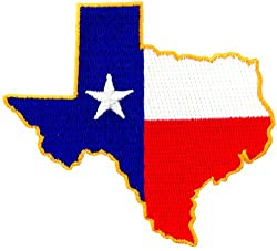 Texas Shape Flag Embroidered Patch Lone Star State Iron-On Emblem