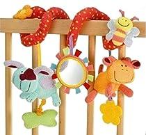 Lalang Bébé Jouet de Poussette Berceau Hochet Jouets Animales éducatifs en Peluche, Twisty Spirale d'activités Hanging Jouets