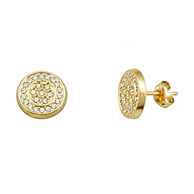 18k gold earrings cubic zirconia 1mm round. [AA5052]