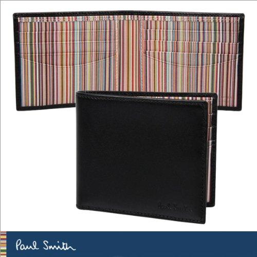 [ポールスミス]Paul Smith AHXA 1032 W232 B 二つ折り 財布 ブラック×マルチストライプ メンズ