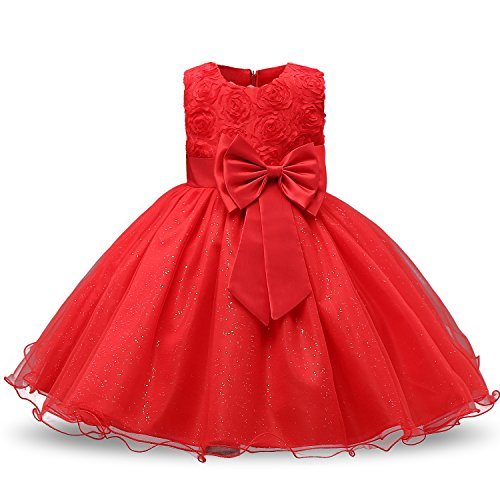 NNJXD Girl Sleeveless Lace 3D Flower Tutu Holiday Princess Dresses Size 9-10 Years Red