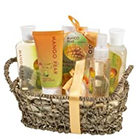 Mango Pear Spa Gift Set Woven Antique Basket,Shower Gel, Bubble bath,Bath Salt,Body Lotion, Body Spray, Bath Fizzer from Freida & Joe