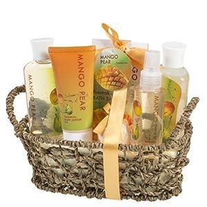 Mango Pear Spa Gift Set Woven Antique Basket,Shower Gel, Bubble bath,Bath Salt,Body Lotion, Body Spray, Bath Fizzer from Freida & Joe