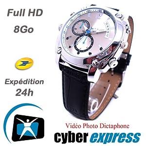 Montre Caméra Cachée Espion 8Go Full HD 1920x1080p Vision Nocturne Modèle CuirHD VR