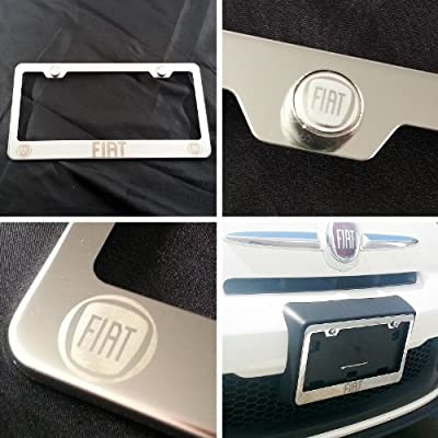 Polish Chrome Laser Engraved Fiat Stainless Steel USA License Plate Frame with Engraved Steel Logo Screw Cap Combo 12.25