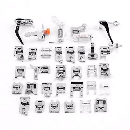 CLemon 32pcs Domestic Sewing Machine Presser Foot Set Handheld Presser Feet Kit for Brother, Singer, Toyota, NewHome, Simplicity, Kenmore Brand and White Low Shank Sewing Machines (Ruffling Foot Brother compare prices)