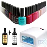 Bluesky Professional Shellac Starter Kit - Salon Quality - UV Nail Gel Soak Off Polish Coat 36W Light Kit Lamp Set Included Top Coat, Base Coat, And 10 Colours - 45 + 46 + 48 + 49 + 27 + 29 + 24 + 25 + 22 + 21