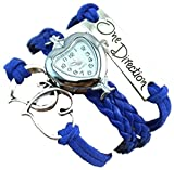 One Direction Heart Watch Charm Bracelet+Twin Hearts+One Direction+Leather JEANS BLUE