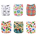 Alva baby cada paquete tiene 6pcs pañal y 2 inserciones ajustado pañal de tela (color para niñas 7) 6DM13-ES