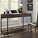 Altra Furniture Madison Ridge Modern Desk with Wheels and Metal Frame, Cherry Finish