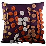 Aaiye Ghar Sajaiye Raw Silk Purple Cushion Cover (16 Inches X 16 Inches)