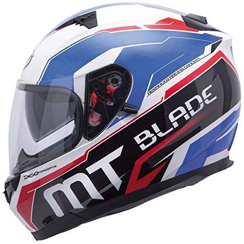 Casque moto intégral MT BLADE SV SUPER R - Double écran - Blanc / Bleu / Rouge