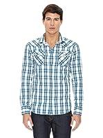True Religion Camisa Cuadros Bolsillos (Azul / Blanco)
