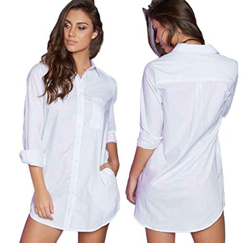 Eenkula manica lunga sexy breve camicia di moda femminile camicette vestito diritto casuale (M, Bianco)