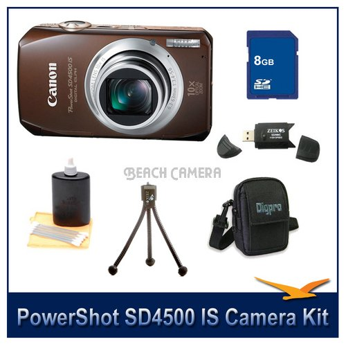 Canon PowerShot SD4500IS 10 MP Digital Camera with 10x Optical Image Stabilized Zoom and 3.0-Inch LCD Super Savings Bundle With 8GB SD card , Tripod , Deluxe DigPro Case , Card Reader And Cleaning Kit
