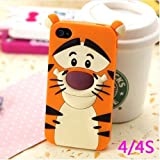Lovestal Cute Cartoon 3D Disney Monster University Animals Soft Silicone Back Cases Covers for Apple iPhone 4/4S (The Jump Tigger) + 1psc Lovestal Wristband