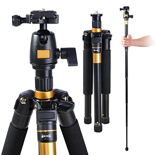 Adjustable-Pro-60-Tripod-Monopod-w-Ball-Head-For-DSLR-Camera-Travel-Aluminum