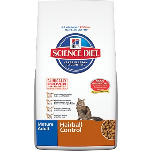 See Hill's Science Diet Mature Adult Hairball Control Dry Cat Food, 15.5-Pound Bag