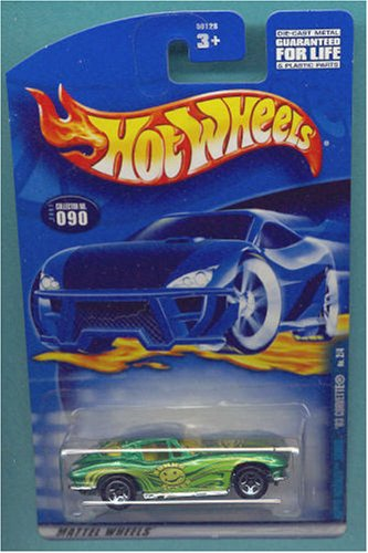 Mattel Hot Wheels 2001 1:64 Scale Green Hippie 1963 Corvette Die Cast Car #090 - 1
