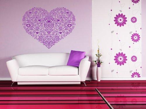 Cuore floreale decorazione muro adesivi casa e vivere, adesivi in vinile, H = 50cm, W = 50cm