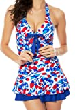 Women's One Piece Halter Push Up Strawberry Ruched Tankini Swim Dress X-Large