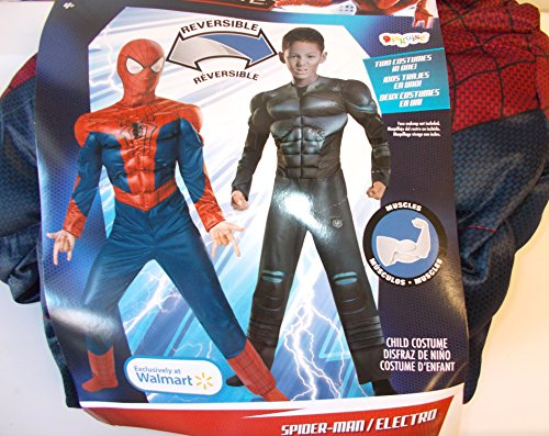Spider-man Electro Reversible Spiderman Muscle Child Costume 8 NIP