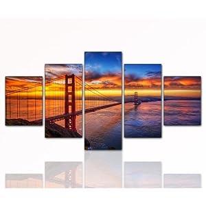 top bilder 5 teiliges wandbild xxl g nstig modern golden gate 5teilig 80x160cm deko bilder. Black Bedroom Furniture Sets. Home Design Ideas