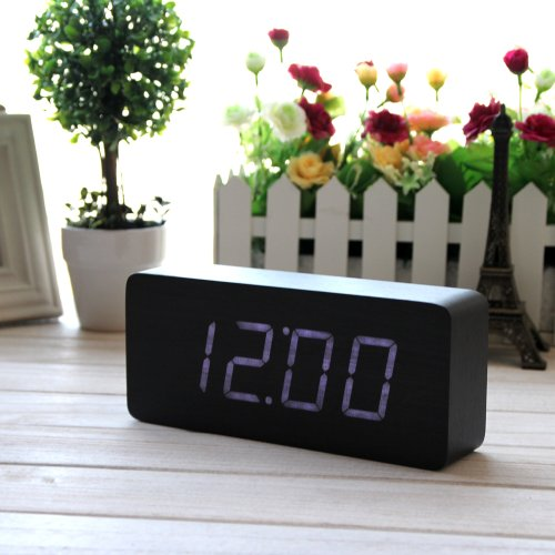 Eiiox Rectangular Wooden Alarm Clock Black With White Led Display Of Thermometer-Sound Activate