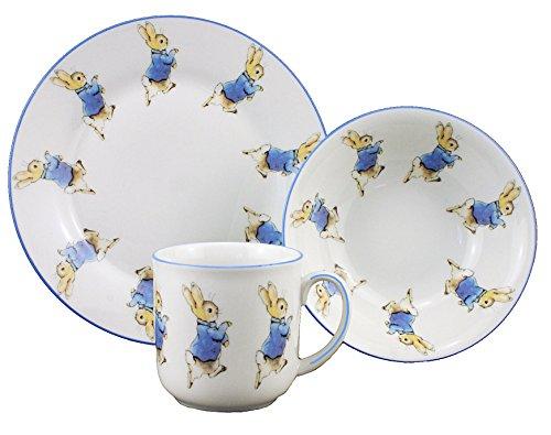 Peter Rabbit - 3 Piece Porcelain Dining Set - Mug, Cereal Bowl & Plate - Beatrix Potter by Reutter Porzellan-Christening/Naming Day/New Born Gift - 1