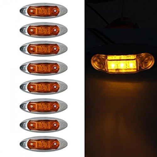 Partsam 8x Universal Waterproof Side Marker Light 3 LEDs Amber Lens w/Chrome Housing (Amber Led Side Marker Lights compare prices)