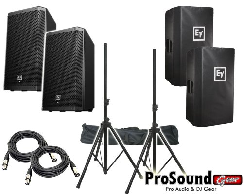 """Electro-Voice Zlx-12P 12"""" 2-Way Powered Loudspeaker / (2) Zlx12P Cover / (2) Xlr To Xlr Cables 20Ft Ea / (Pair) Speaker Stand W/ Bag / (Prosoundgear Authorized Seller)"""