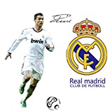 Fangeplus(TM) DIY Removable Cristiano Ronaldo Real Madrid Football Soccer Player Wall Stickers Stadium Decor Student Dormitory Decal Sticker 35.4''x23.6''
