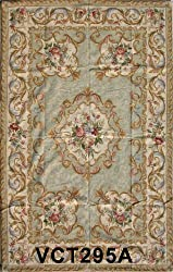 Marcella Needlepoint Aubusson Medallion Sage Ivory Rug NEW!