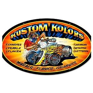 Kustom Kolors Vintage Metal Sign Hot Rod Car Auto Paint 24 X 14 Steel Not Tin