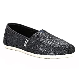 TOMS Classic Casual Shoes in Pewter Grey Lace Glitz, 6