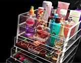 KK Clear Acrylic Cosmetic & Makeup Organizer with 5 Drawers and Flip Top